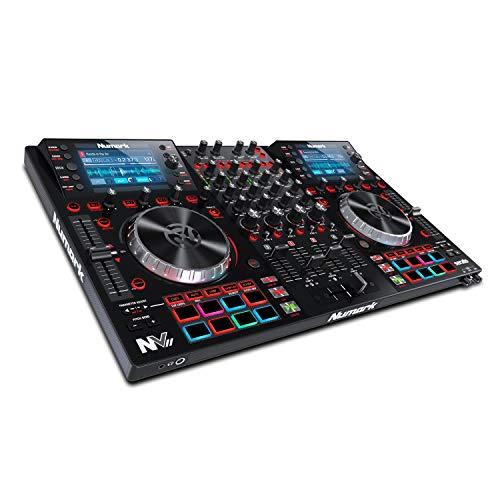 Numark NVII - 4-Deck Dual-Display-DJ-Controller mit Serato DJ, 5-Zoll-Metall-Jogwheels, 16 anschlagdynamischen Pads, 10 Pad Modi, Toolroom Artist Packs