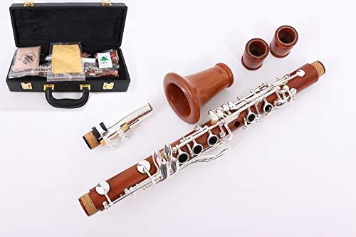 Yinfente B-Klarinette, flach, ES-Schlüssel, fortgeschrittener Anfänger, Palisanderkorpus mit 17 Griffe, versilbert, Kasten und Rohrblattinstrument und Polster Eb key