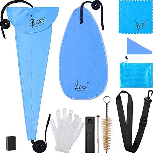 11 in 1 Saxophon Reinigung Pflege Kit für Klarinette, Flöte und Blasinstrument, Einschließlich Aufbewahrungstasche, Daumenauflage, Reinigungstuch, Handschuhe, Mundstückbürste