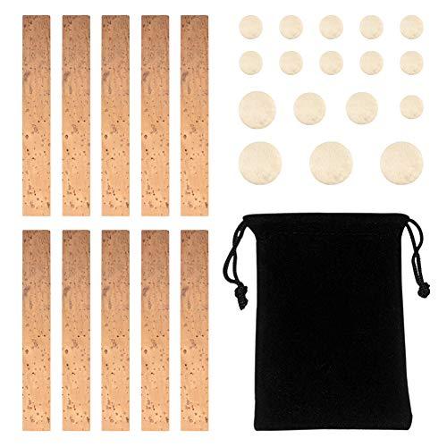 Novelfun 27-teiliges Klarinetten-Reparatur-Zubehör-Set mit 10 Stück Korkplatten für Klarinettenhalsverbindung und 17 Klarinetten-Polster für Bb-Klarinette, Holzblasinstrumente