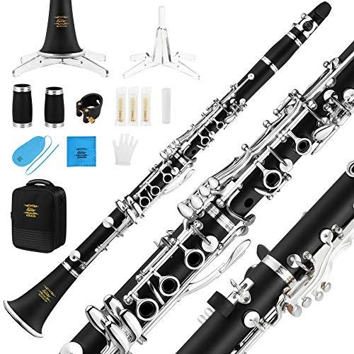 Eastar B Klarinette mit 17 Klappen, Bb Klarinette Silber ECL-400 mit Koffer Mundstück Handschuhe Blätter